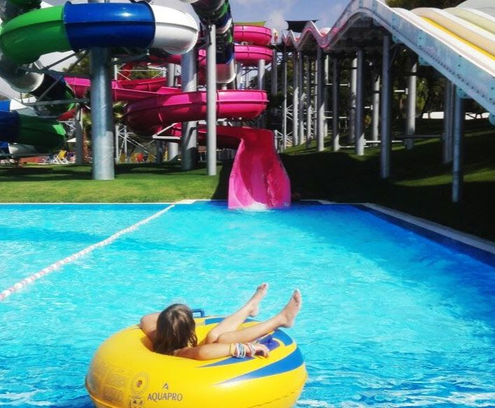 Water park in Greece slides
