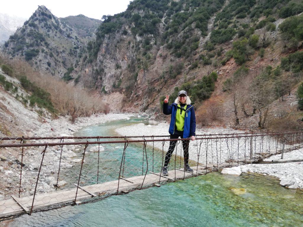 Epirus with kids hanging bridge